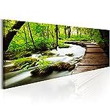 murando - Bilder 120x40 cm - Leinwandbilder - Fertig Aufgespannt - Vlies Leinwand - 1 Teilig - Wandbilder XXL - Kunstdrucke - Wandbild - Wald grün Baum Natur Landschaft c-B-0161-b-a
