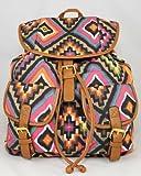 Ladies azteca lienzo mochila albaricoque negro