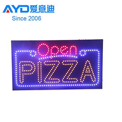 LED Burger Open Light Sign Super Bright E-Werbung Display Board für Pizza Hot Dog Sandwich Business Shop Store Fenster Schlafzimmer 27 x 15 inches schwarz