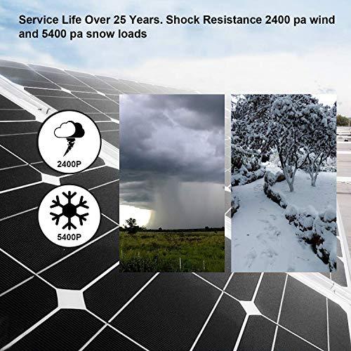 ECO-WORTHY 150W 12v Monokristallin Solarpanel Solarmodul Ideal FÜR Berechnen 12 Volt Batterie Systeme Bausatz , Camping, Wohnmobil,Wohnmobile, Boote ,Gartenhäuser - 4