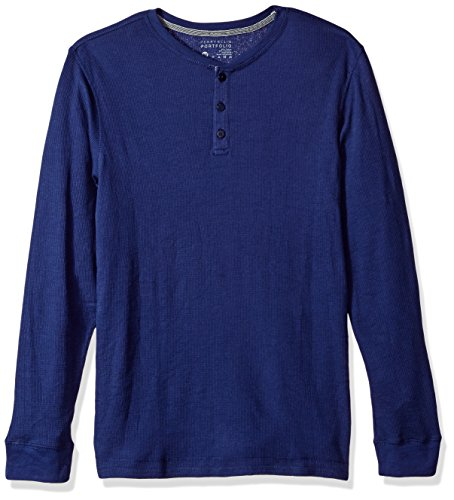 Blau Thermal Long Sleeve Top (Perry Ellis herren Portfolio Saturday Morning Thermal Long Sleeve Henley  Pyjama-Oberteil (Top)  -  blau - )