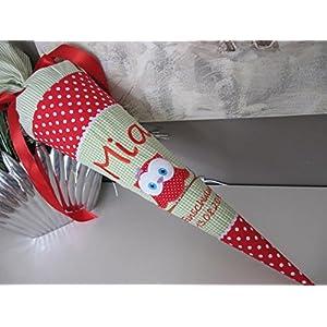 #144 Eule Uhu rot-grün Schultüte Stoff + Papprohling + als Kissen verwendbar