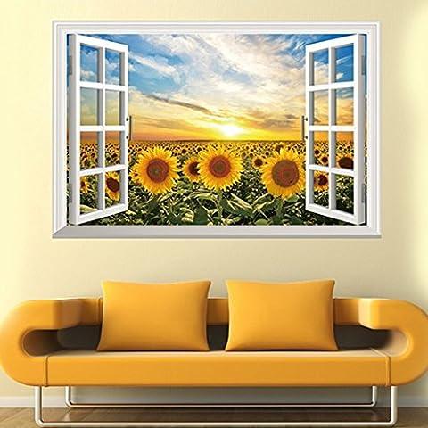 Wand-Aufkleber 3D Fake Windows Sonnenblume Sun Papier Home Decal Abnehmbare Wand Vinyl Wohnzimmer Schlafzimmer PVC Kunst Picture Murals Wasserdicht DIY Stick für Erwachsene Teens Kinder Kinderzimmer Baby