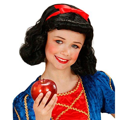 (Amakando Kinderperücke Schneewittchen Märchenkostüm Zubehör schwarz Kunsthaar Prinzessin Perücke für Mädchen Kinderkarneval)