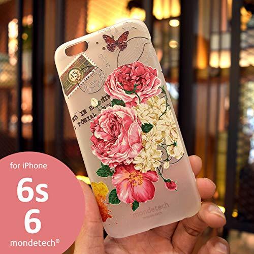 iPhone Case, mondetech Rosa Pfingstrose Blossom Frosted Transparente Weiche Silikon TPU 3D Reliefmalerei Schutzhülle für das iPhone (iPhone 6/6s)