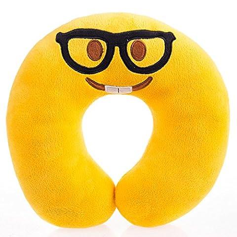 Lugii Cube en forme de U Bolster Oreiller de voyage Oreiller tour de cou court en peluche emoji Expression