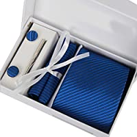 Coxeer Uomini 6 in 1 elegante cravatta punta clip gemello Hanky e fazzoletto Set Paisley viola