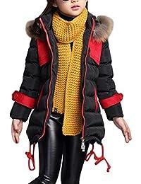 SMITHROAD Wintermantel Mädchen verdickte mit Kapuzen Pelzkragen Oberbekleidung Steppjacke Winterjacke warm Lang Winddicht Trenchcoat Outerwear