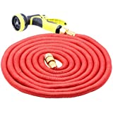 Garden Hose, Hysada Top Strongest Brass Fitting Flexible Expanding Garden Hose on the Planet with Solid Brass Ends Double Latex Core Extra Strength Fabric 9' Function Spray Gun - Red 50ft