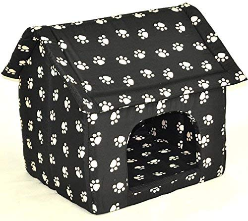nanook große Hunde-Höhle, Hunde-Haus CHALET BLACK XL (60 x 58 cm), Schwarz mit Pfoten