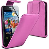 ( Baby Pink ) Samsung Galaxy S2 i9100 Premium Faux Leder Flip Case Hülle & LCD-Display Schutzfolie by Fone-Case
