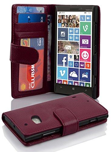 Cadorabo Hülle für Nokia Lumia 929/930 Hülle in Handyhülle mit 3 Kartenfächern Case Cover Schutzhülle Etui Tasche Book Klapp Style Bordeaux Lila