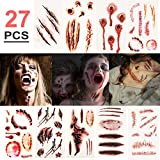 Tatouages temporaires, 27 feuilles réalistes de Halloween Cicatrices Tatouages, faux Zombie Scar Tatouages sang Costume Maquillage Props