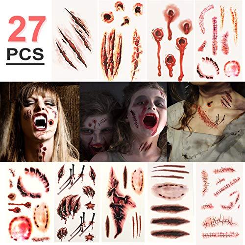 Halloween Temporäre Tattoos (27 Blatt) - Realistisch Halloween Narben Wunden Tattoos Zombie Schminke Scars Tattoo, Gefälschter Scab Blut Kratzer Aufkleber für Halloween Kostüm Makeup und ()