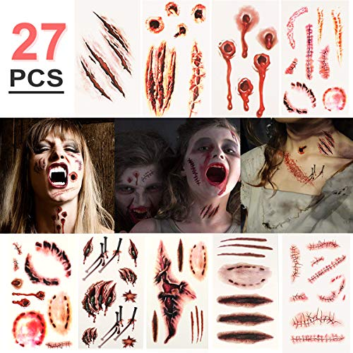 Halloween Temporäre Tattoos (27 Blatt) - Realistisch