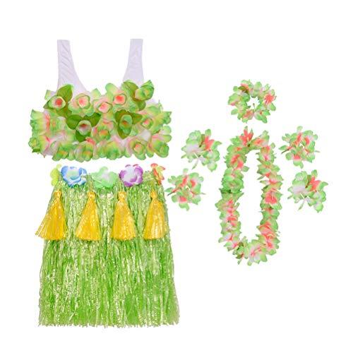 Kleinkind Kostüm Hula - Amosfun Kinder Hawaiian Grass Rock Set