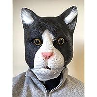 Rubber Johnnies TM Black & White Cat Latex Mask Full Head Fancy Dress Costume Masks