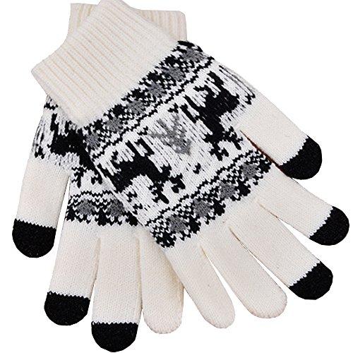iEverest Unisex Touchscreen Handschuhe Lover Handschuhe Gestrickte Touchscreen Schneeflocken-Handschuhe dicke Handschuhe Smartphone Touchscreen Handschuhe Vollfingerhandschuhe (Weiß)