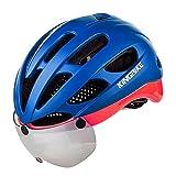 Casco de Ciclo KINGBIKE Ajustable Casco de la Bici con UV 400 Gafas de Protección de Carcasa Mejorar Seguridad,3d Corte Cómodo Almohadillas para Hombres Mujeres