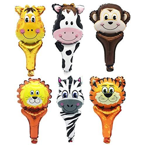 Amosfun 6 Stück Tiere Ballons Zoo Tier Ballons Kit für Dschungel Safari Tiere Thema Geburtstag Partydekorationen