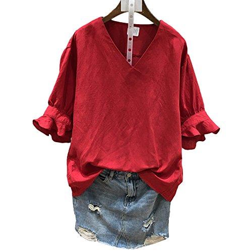 Xmy Sommer Bubble-Tasche V-Ausschnitt Kurzarm Shirt Sleeve Kopf Mädchen t-Shirt sind Code, Rot -
