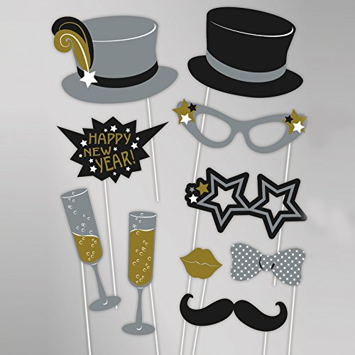 20 lustige Happy New Year Fotorequisiten - Silvester Party Fotoaccessoires Foto Props - Hut Brille Schnurrbart Sektglas Kussmund Fliege & Co.