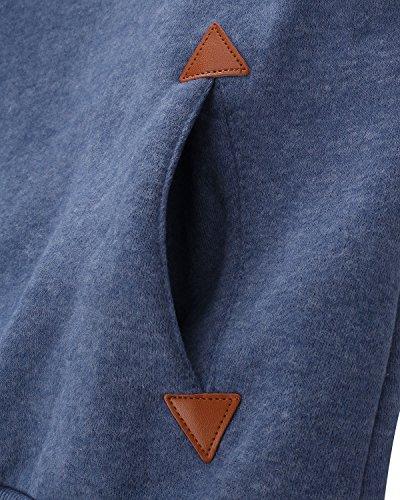 ZANZEA Donne Dolcevita Caldo Cappotto invernale giacca Felpa con cappuccio blu IT 38/ASIA S