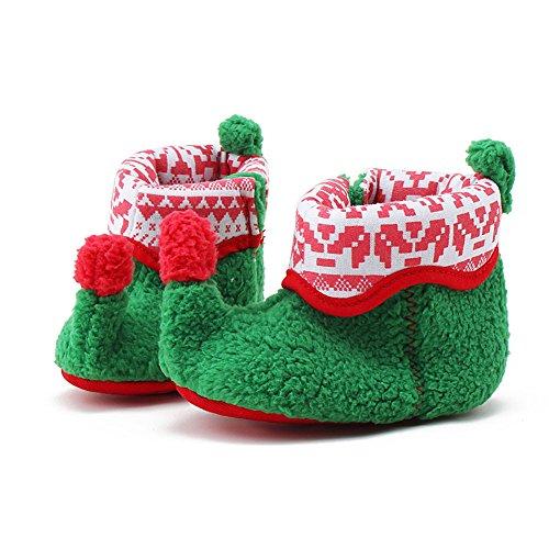 Itaar Baby Weihnachten Stiefel Schneestiefel Winter Elfenbeuten warm Säuglingskleinkind mit weicher rutschfester Sohle für Babys 0-18 Monate (6-12 Monate, Grün) Grün
