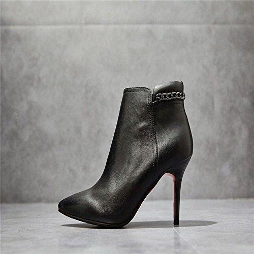 t Spitzen Nackten Stiefel Seitlichem Reißverschluss Stiefel Schuhe,Schwarz,37 (Han Solo Stiefel)