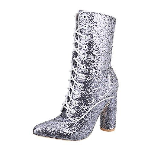 Ital-Design Schnürstiefeletten Damen-Schuhe Schnürstiefeletten Pump High Heels Schnürsenkel Stiefeletten Silber, Gr 38, Jr-002-