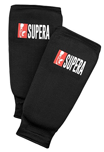 Supera Unterarmschützer,Training' für Kampfsport - Armschützer aus Stoff - Taekwondo, Karate, Kickboxen, Muay Thai - elastisch Armschoner mit Weicher Polsterung, (Größe - Senior schwarz)