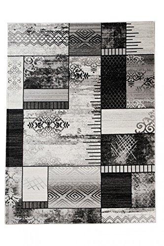Tapiso Tango Teppich Modern Kurzflor Grau Creme Schwarz Streifen Linien Floral Viereck Muster Designer Schlafzimmer Wohnzimmer ÖKOTEX 300 x 400 cm -