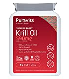 Superba Krill Oil 500mg, 60 Softgels, Pure Antarctic Krill, Eco Harvesting, Letter Box Friendly Packaging by Puravits. *