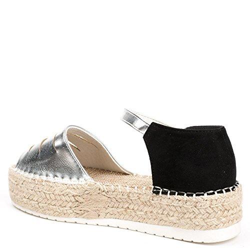 Ideal Shoes, Damen Sandalen Silber