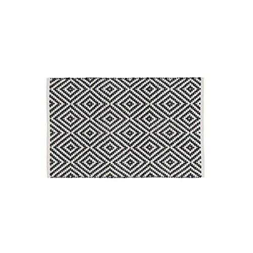 Black Velvet Studio - AlfombraKenya100%algodón,ColorNegroyBeige.Estiloétnico.60x90cm.