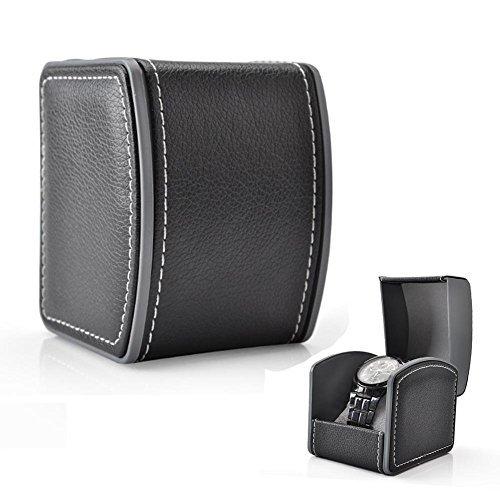GossipBoy Cuir Présentoir/ Boîte/ Coffret à Montre Noir Coffret de Rangement pour Montres avec Coussin Gris 10 x 8,5 x 7,5 cm (inclus), Noir