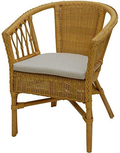 Stapelbarer Rattan-Sessel/ Stuhl aus Natur-Rattan inkl. Polster in der Farbe Honig