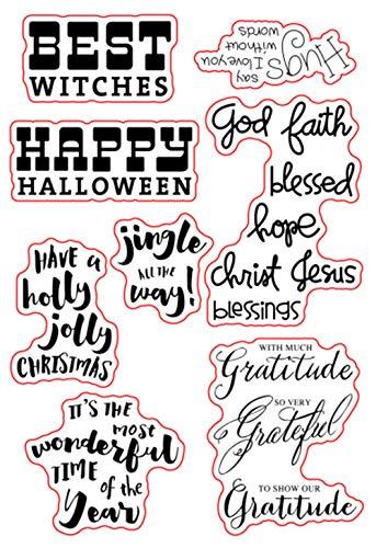 Happy Halloween Sentiments Sprüche Grüße Stempel Gummi Clear Stempel Scrapbook Foto Deko Karten machen Clear Stempel