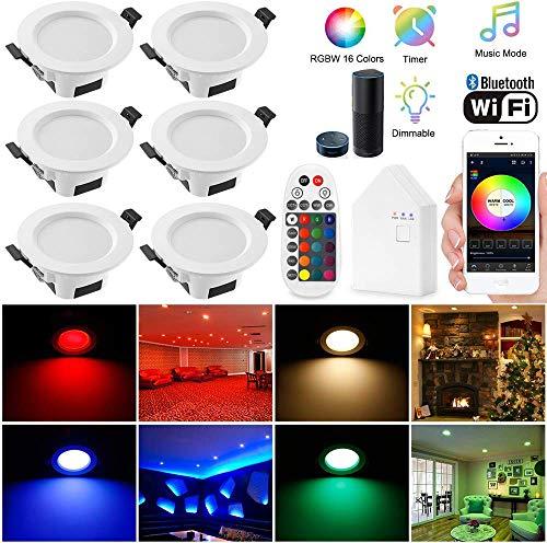 Wlan Bluetooth 5W LED Einbaustrahler RGBW+CCT 5 in 1 Einbauleuchte Spot Dimmbar 230 Volt Einbauleuchten mit Bluetooth Fernbedienung,BT Mesh Smart Bridge,6er set