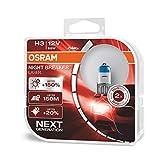 Osram Night Breaker Laser H3 next Generation, +150% mehr Helligkeit, Halogen-Scheinwerferlampe, 64151NL-HCB, 12V PKW, Duo Box (2 Lampen)