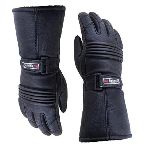 Full Leder Motorrad Handschuhe von LDM. Handschuhe sind Thermo-, 3m Thinsulate Material. Für Radfahrer, Motorräder & Mopeds. (Full-motorrad-handschuhe Leder)