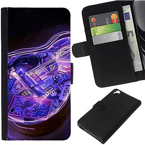 Leather Etui en cuir || HTC Desire 820 || Guitarra eléctrica azul del instrumento de música Negro