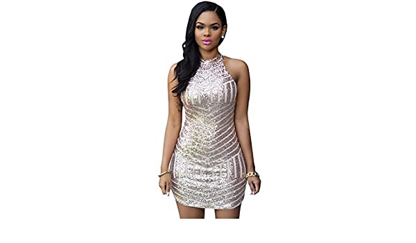 COSIVIA Womens New Sexy Sparkling Sequin Tank Bodycon Evening Party Cocktail Mini Dress (As Shown): Amazon.co.uk: Clothing