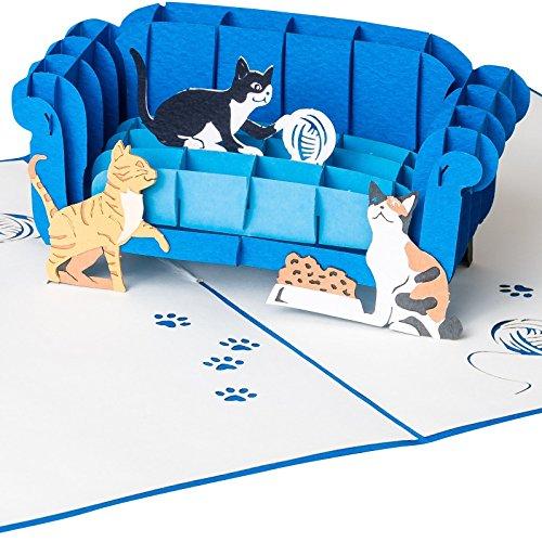3D Grußkarte Katzen auf Sofa mit Wollknäuel 3D Pop Up, handgefertigt Geschenkkarte für Katzenfreunde