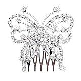 WINOMO Ragazze Farfalla a Forma di Strass Accessori Per Capelli (Argento)