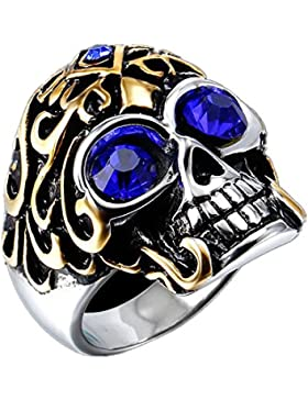 COPAUL Schmuck Edelstahl Männer Kristall Blau Augen Totenkopf Ring,Gold Silber,Größen 65 (20.7)