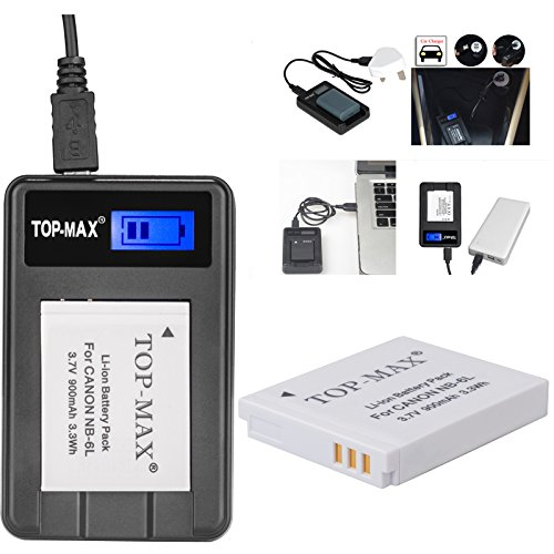 top-maxr-nb-6l-nb-6lh-battery-rapid-usb-charger-with-lcd-screen-for-canon-sx710-hssx700ssx610-hssx52