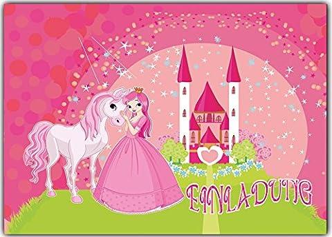 Prinzessin Einladungskarten Kindergeburtstag 12 Stück im günstigen Set Kinder Geburtstag Mädchen Fee Pferd Poney