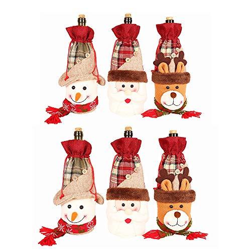 MAATCHH Robuster Basketball-Rack Weihnachten Rotwein-Flasche Bunch Tasche Bartisch Elk Champagner-Flasche Set Rotwein Bundle Tasche 6 PC-Flasche (Farbe : Mehrfarbig, Größe : Free Size)