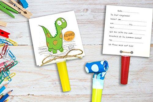 Einladungskarten Kindergeburtstag mit Dino inkl. Party Tröte